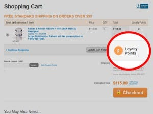 Loyalty points on shopping cart page