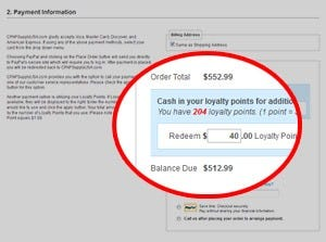 Loyalty points as a payment method at checkout
