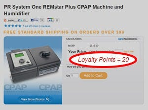 Loyalty points on product page